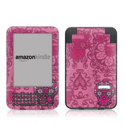 Kindle Keyboard Skin - Pink Lace