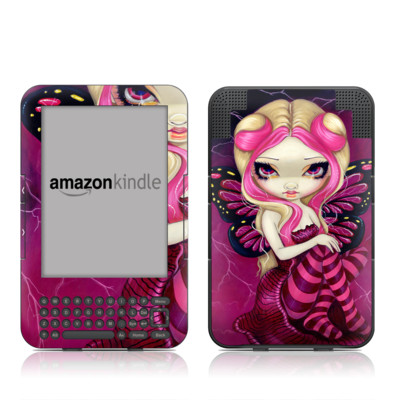 Kindle Keyboard Skin - Pink Lightning