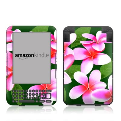 Kindle Keyboard Skin - Pink Plumerias