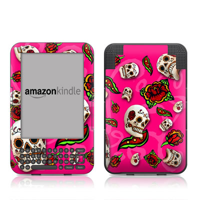 Kindle Keyboard Skin - Pink Scatter