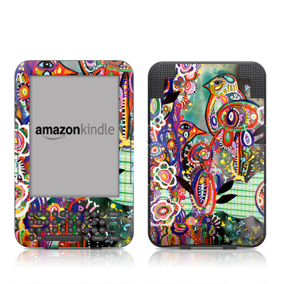 Kindle Keyboard Skin - Purple Birds