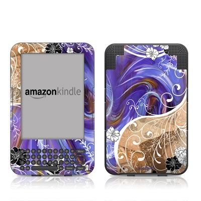 Kindle Keyboard Skin - Purple Waves