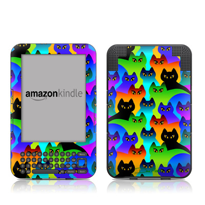 Kindle Keyboard Skin - Rainbow Cats