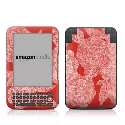 Kindle Keyboard Skin - Red Dahlias