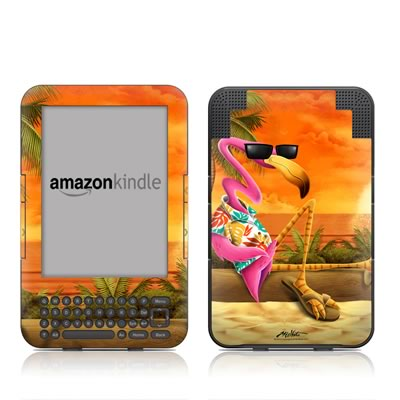 Kindle Keyboard Skin - Sunset Flamingo