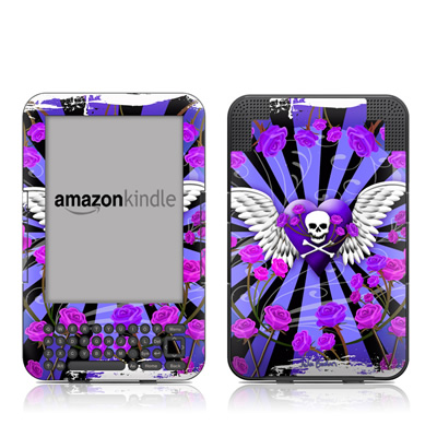 Kindle Keyboard Skin - Skull & Roses Purple