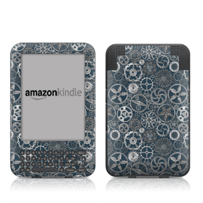 Kindle Keyboard Skin - Silver Gears