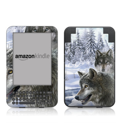 Kindle Keyboard Skin - Snow Wolves