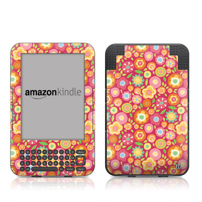 Kindle Keyboard Skin - Flowers Squished