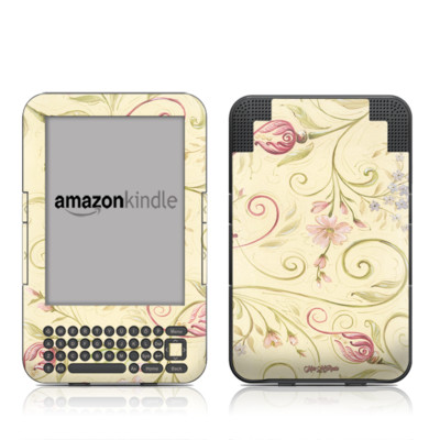 Kindle Keyboard Skin - Tulip Scroll
