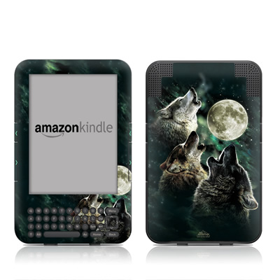 Kindle Keyboard Skin - Three Wolf Moon