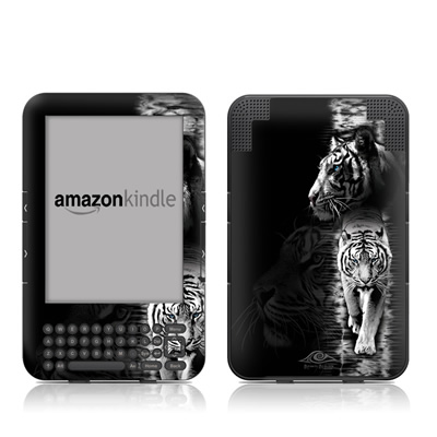Kindle Keyboard Skin - White Tiger