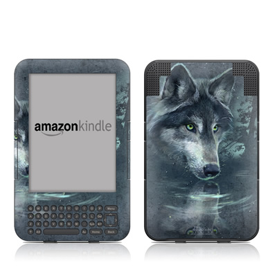Kindle Keyboard Skin - Wolf Reflection