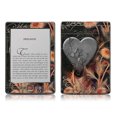 Kindle 4 Skin - Black Lace Flower