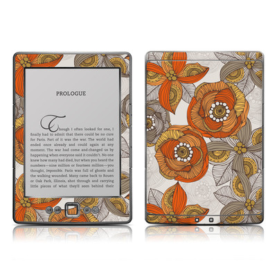 Kindle 4 Skin - Orange and Grey Flowers