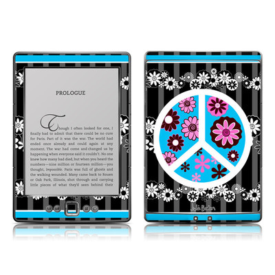 Kindle 4 Skin - Peace Flowers Black