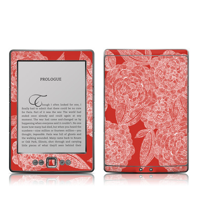 Kindle 4 Skin - Red Dahlias