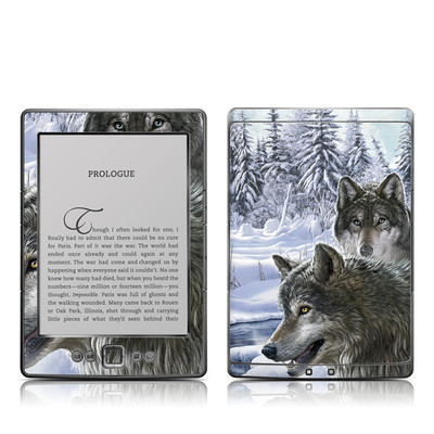 Kindle 4 Skin - Snow Wolves