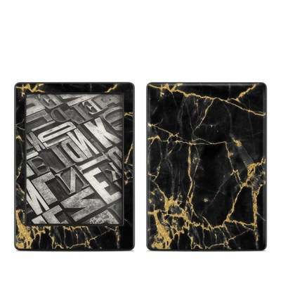 Amazon Kindle 8th Gen Skin - Black Gold Marble