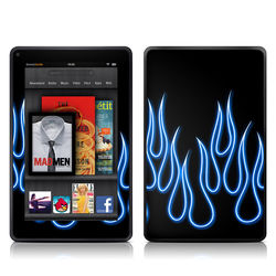 Kindle Fire Skin - Blue Neon Flames