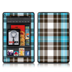 Kindle Fire Skin - Turquoise Plaid