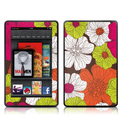 Kindle Fire Skin - Brown Flowers