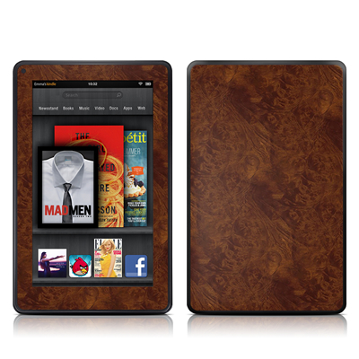 Kindle Fire Skin - Dark Burlwood