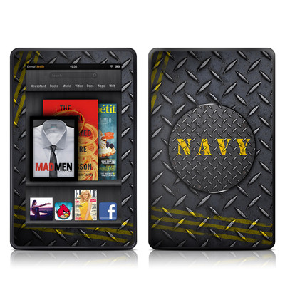 Kindle Fire Skin - Navy Diamond Plate