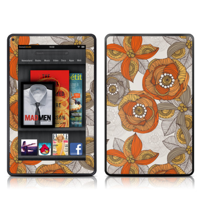 Kindle Fire Skin - Orange and Grey Flowers