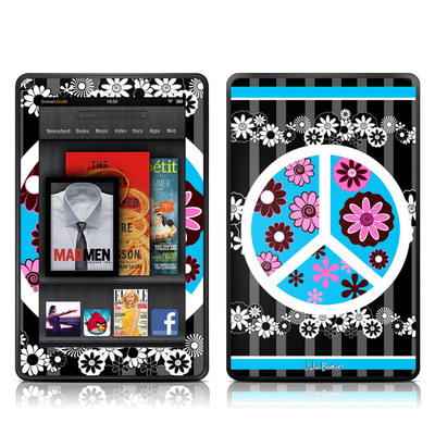 Kindle Fire Skin - Peace Flowers Black