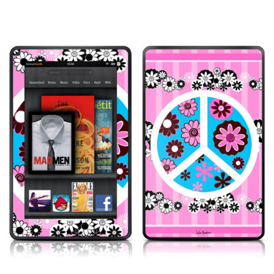 Kindle Fire Skin - Peace Flowers Pink