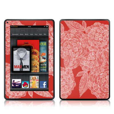 Kindle Fire Skin - Red Dahlias