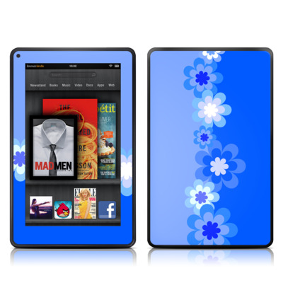 Kindle Fire Skin - Retro Blue Flowers