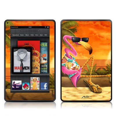 Kindle Fire Skin - Sunset Flamingo