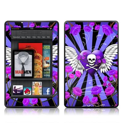 Kindle Fire Skin - Skull & Roses Purple