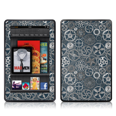 Kindle Fire Skin - Silver Gears