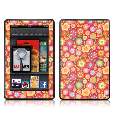 Kindle Fire Skin - Flowers Squished