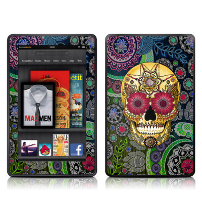 Kindle Fire Skin - Sugar Skull Paisley