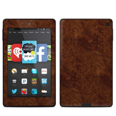 Amazon Kindle Fire HD 6in Skin - Dark Burlwood