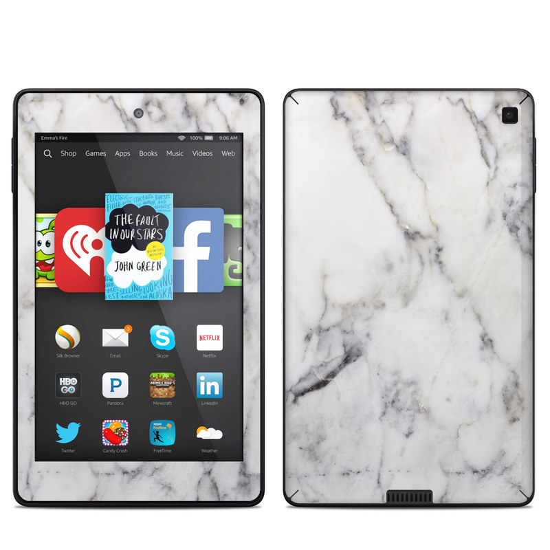 Amazon Kindle Fire Hd 6in Skin White Marble By Marble