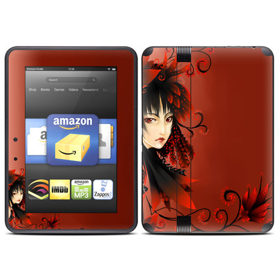 Amazon Kindle Fire HD (2012) Skin - Black Flower
