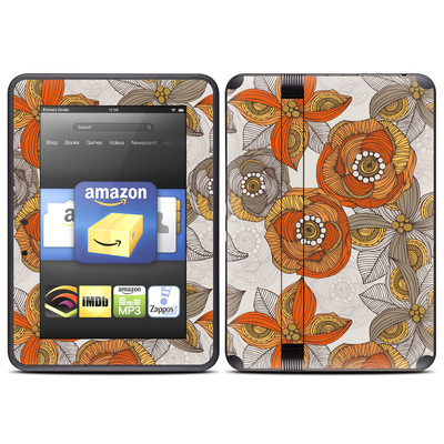 Amazon Kindle Fire HD (2012) Skin - Orange and Grey Flowers