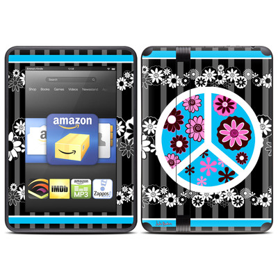 Amazon Kindle Fire HD (2012) Skin - Peace Flowers Black