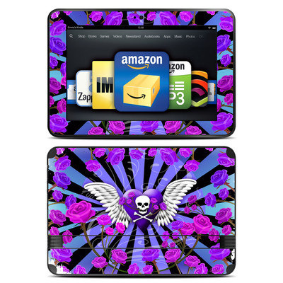 Amazon Kindle Fire HD 8.9 Skin - Skull & Roses Purple