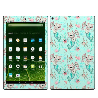Amazon Kindle Fire HD10 2015 Skin - Merkittens with Pearls Aqua