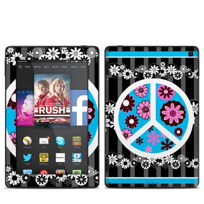Amazon Kindle Fire HD 7in 2014 Skin - Peace Flowers Black