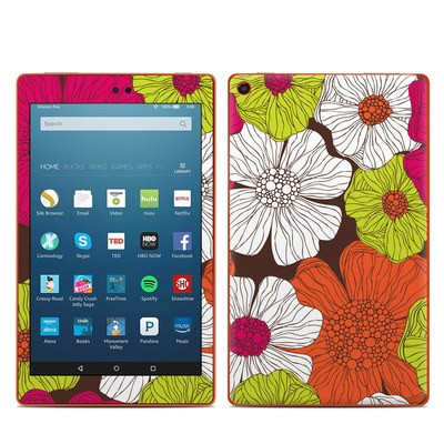 Amazon Kindle Fire HD8 2016 Skin - Brown Flowers