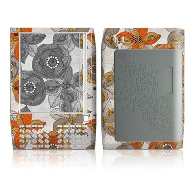 Kindle Skin - Orange and Grey Flowers