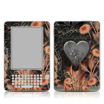 Kindle 2 Skin - Black Lace Flower