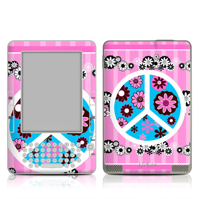Kindle 2 Skin - Peace Flowers Pink
